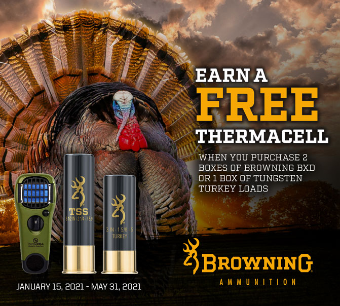 Earn a FREE Thermacell - When you purchase 2 boxes of Browning BXD or 1 box of Tungsten Turkey Loads